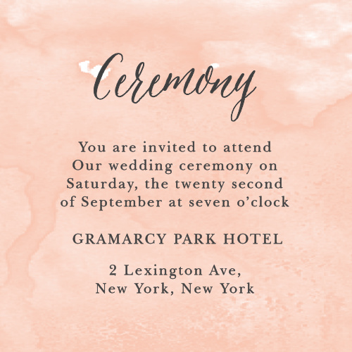 The Watercolor Script Ceremony Cards are part of the Crafty Pie collection by Basic Invite.