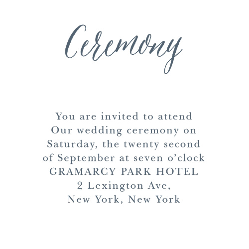 Add your wording in the font of your choice to the Rustic Ombre Ceremony Cards.