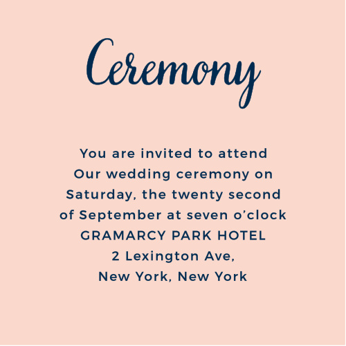 The Modern Love Ceremony Cards may be used for several different purposes: as a ceremony invitations, a rehearsal dinner card or as for any other additional details you want guests to have.