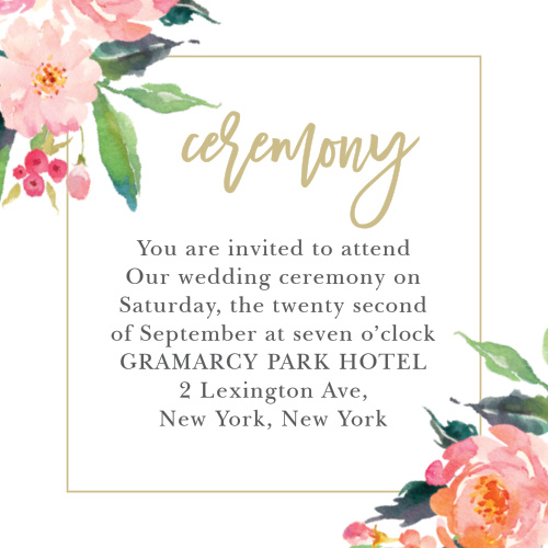 Elegant watercolor flowers and a thin border complements your custom text on the Standing Ovation Ceremony Cards. Find your wedding colors in our palette of over 160 custom colors.