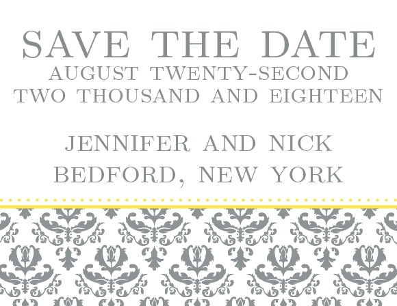 Patten The Formal Damask Tea save the date after your wedding colors and style to introduce your guests to your theme.
