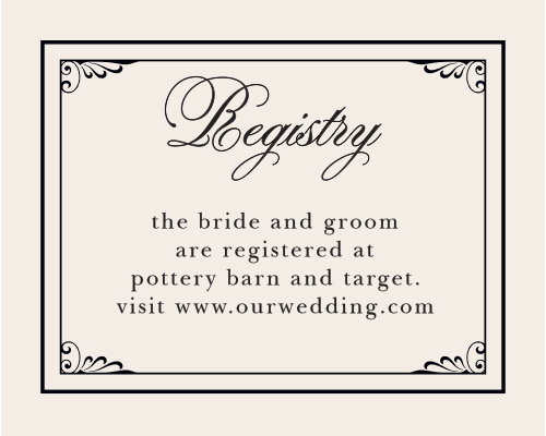Direct guests to your wedding wishlist with the Grand Victorian Registry Cards from the Crafty Pie Collection at Basic Invite.