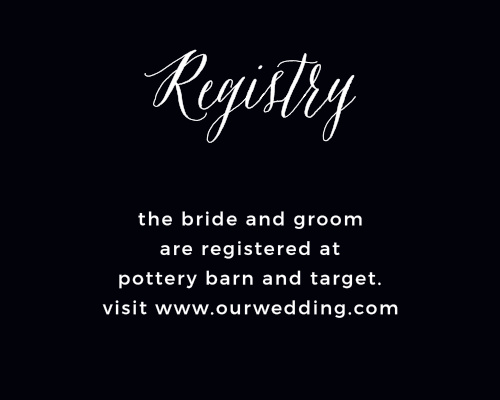 The Modern Elegant Registry Cards are a small enclosure card with an important job.