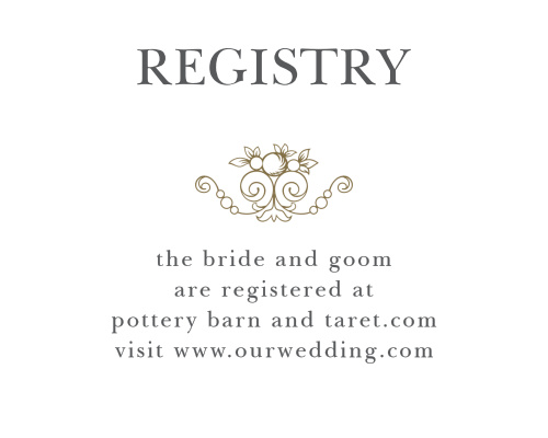 Create you truly customized wedding stationery with the Vintage Damask Registry Cards.