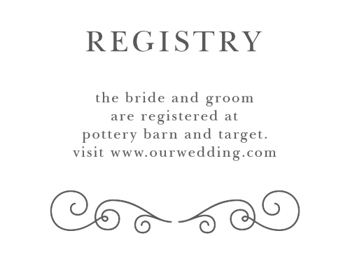 Ensure guests find your wedding wishlist with the Parisian Chic Registry Cards from the Crafty Pie Collection at Basic Invite.