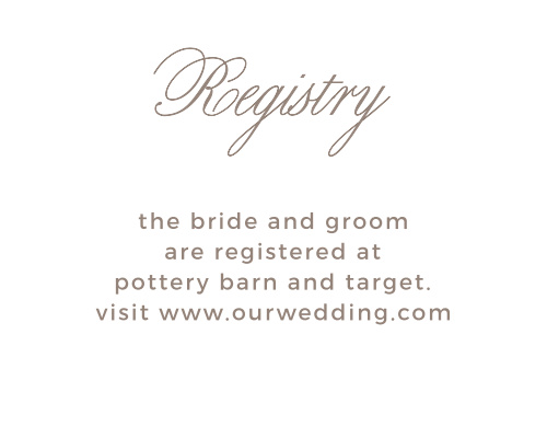Whether you've created a wedding wish list or you prefer no gifts, the Vintage Frame Registry Cards are an easy way to let your guest know.