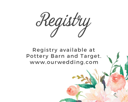 Ensure guests find your wedding wishlist with the Blossoming Love Registry Cards from the Crafty Pie Collection at Basic Invite.