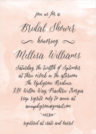 The Watercolor Script Bridal Shower Invitations from the Crafty Pie Collection at Basic Invite are a softly elegant design customizable to most wedding themes.
