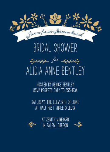 Invite friends and family to celebrate with the Folksy Floral Foil Bridal Shower Invitations from the Crafty Pie Collection at Basic Invite.