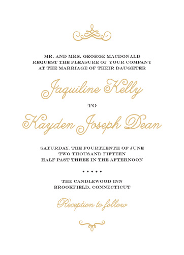 Invite your guests like royalty with the Whimsical Script Foil Wedding Invitations from the Crafty Pie Collection at Basic Invite.