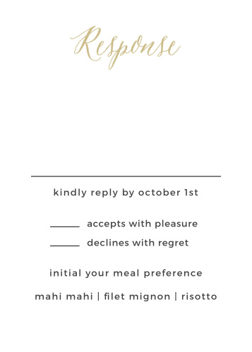 Customize the Rustic Script Foil Response Cards from the Crafty Pie Collection at Basic Invite to meet your wedding stationery needs.