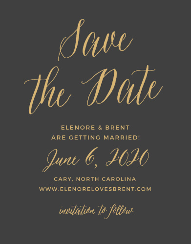 Announce your upcoming wedding with the Rustic Script Foil Save-the-Date Cards from the Crafty Pie Collection at Basic Invite.