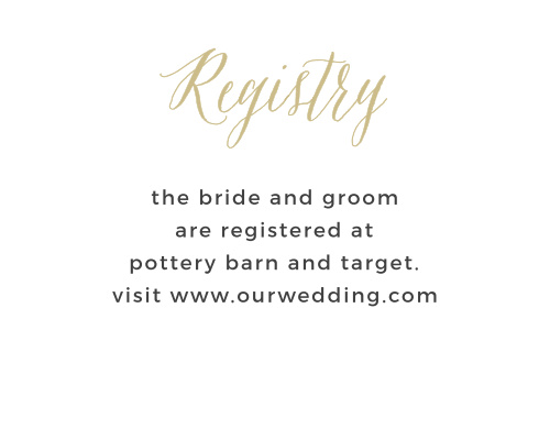 Direct guests to your wedding wishlist with the Rustic Script Foil Registry Cards from the Crafty Pie Collection at Basic Invite.