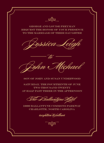 Invite guests to your posh event with Elegant Script Foil Wedding Invitations from the Crafty Pie Collection at Basic Invite.