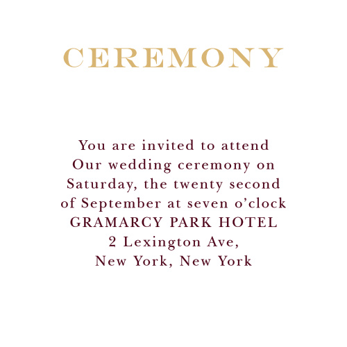 Invite your VIPs to the highlight of your posh wedding with the Elegant Foil Script Ceremony Cards.