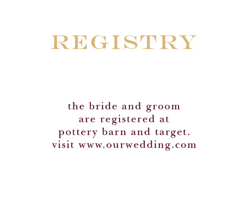 Help friends and family find your wedding wishlist with the Elegant Script Foil Registry Cards from the Crafty Pie Collection at Basic Invite.