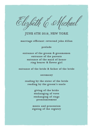 Organize your ceremony with the elegance of the Calligraphy Script Wedding Programs from the Crafty Pie Collection at Basic Invite.