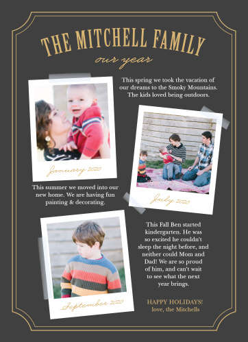 Celebrate another great year with the Polaroid Timeline Foil Holiday Cards.