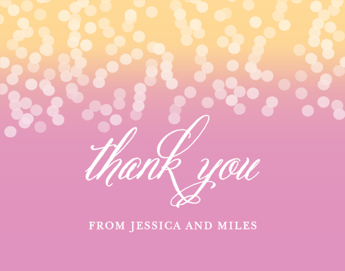 Share your gratitude for family and friends with the Confetti Ombre Thank You Cards from the Crafty Pie Collection at Basic Invite.