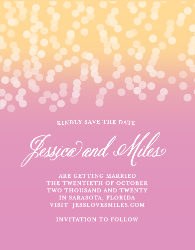 Reserve your spot on your guests' calendars with the Confetti Ombre Save-the-Date Cards from the Crafty Pie Collection at Basic Invite.