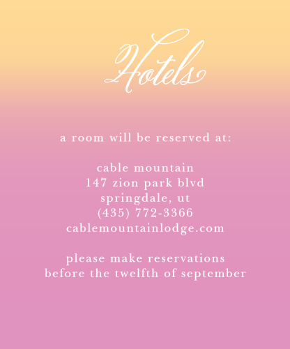 Do your guests know where to stay? Make sure they do with the Confetti Ombre Accommodation Cards from the Crafty Pie Collection at Basic Invite.