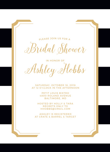 Floral Stripe Foil Bridal Shower Invitations
