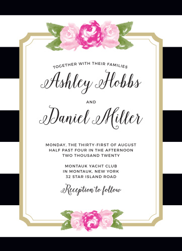 Customize the Floral Stripe Wedding Invitations from the Crafty Pie Collection at Basic Invite.