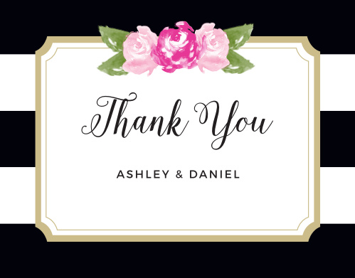 Convey your gratitude to friends and family with the Floral Stripe Thank You Cards.