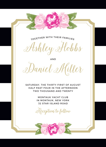 Customize the Floral Stripe Foil Wedding Invitations from the Crafty Pie Collection at Basic Invite.