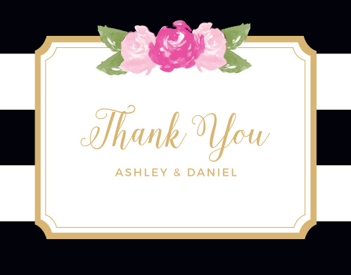 Convey your gratitude to friends and family with the Floral Stripe Foil Thank You Cards which feature our real gold or silver pressed foil.