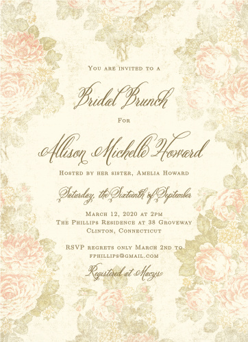 Romantic bridal shower invitations match your color style free romantic vintage bridal shower invitations filmwisefo