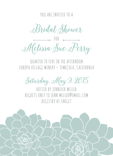 Stylish whimsy makes the Sweet Succulents Bridal Shower Invitations a cute choice for your event.