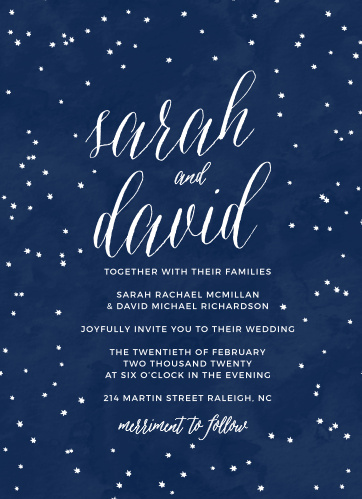 A scattering of hand-drawn style stars rests upon a watercolor background on the Under the Stars Wedding Invitations.