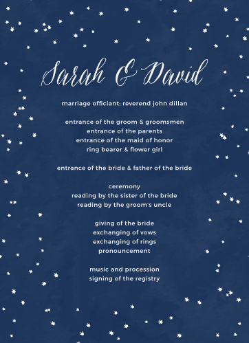 Keep the wedding party on schedule with the Under the Stars Wedding Programs.