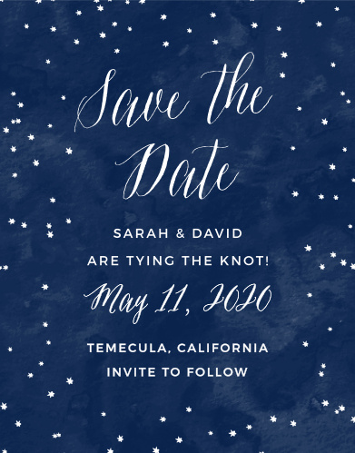 Announce you're tying the knot with the Under the Stars Save-the-Date Cards from the Crafty Pie Collection at Basic Invite.