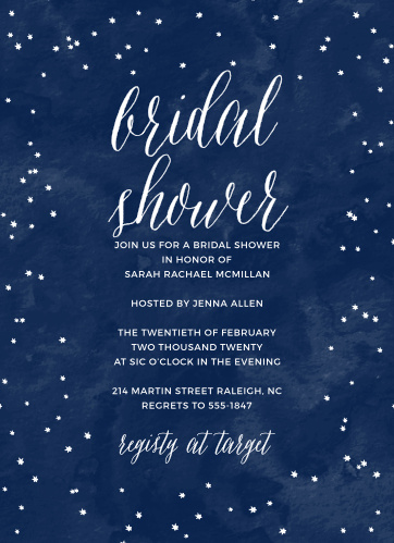 Twinkling stars and a dreamy painted background make the Under the Stars Bridal Shower Invitations a great choice for your event.