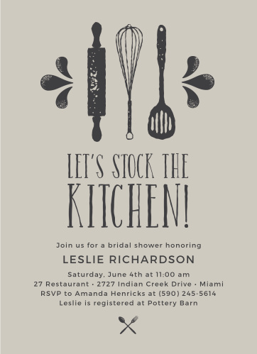Invite guests to your kitchen themed party with the Stock the Kitchen Bridal Shower Invitations.