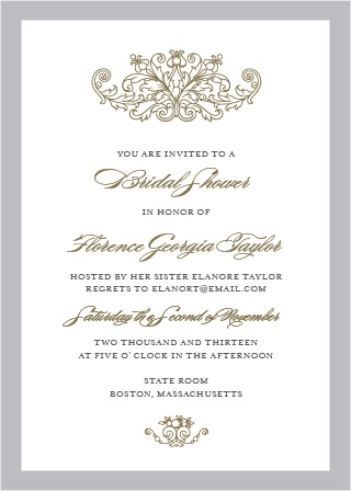 Formally invite friends and family to celebrate the bride-to-be with the Vintage Damask Bridal Shower Invitations.