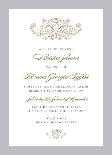 Vintage Damask Bridal Shower Invitations
