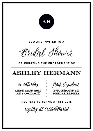 The Modern Elegant Bridal Shower Invitations are a classic design with a contemporary feel.