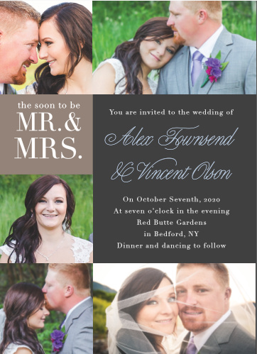 Show your pictures off with the Mr. & Mrs. Wedding Invitations.
