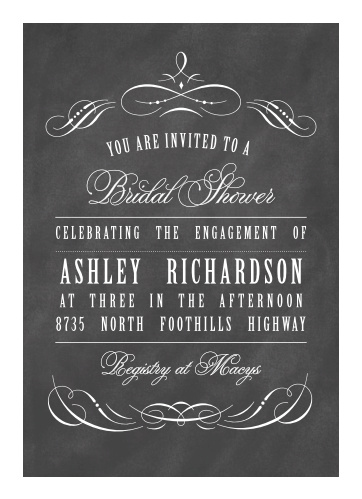 Chalkboard bridal shower invitations match your color style free vintage ornamental bridal shower invitations filmwisefo