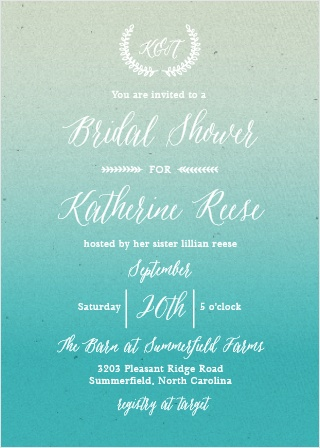 Handwritten fonts and hand-drawn embellishments complement a gorgeous gradient background on the Rustic Ombre Bridal Shower Invitations.
