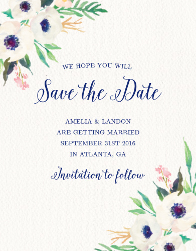 Lush florals adorn the corners of the Watercolor Anemone Save-the-Date Cards.