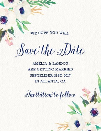 Lush florals adorn the corners of the Watercolor Anemone Save-the-Date Magnets.