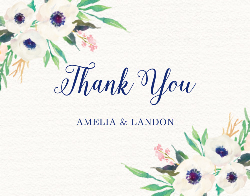 The Watercolor Anemone Thank You cards' delicate design is a sweet way to remember the friends and family who celebrated with you.