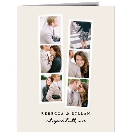 After the party, remember to thank all the friends and family who celebrated with you with the Classic Photo Booth Thank You Cards. These folded cards feature two photo strips with spaces for six of your wedding photos.