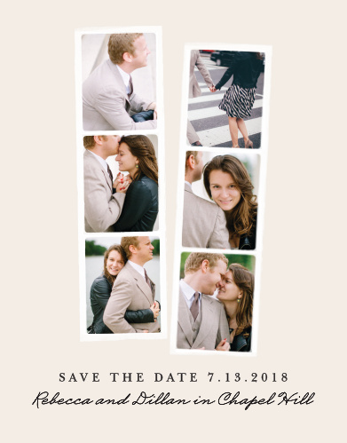 descriptionShow off your engagement photos with the Classic Photo Booth Save-the-Date Cards. This gorgeous design frames six of your photos in photo strips from a photo booth.