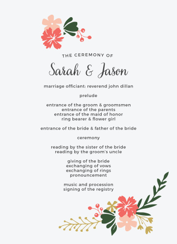 The Garden Party Wedding Programs are an entirely customizable two-sided design.
