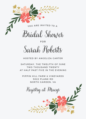 Lovely Garden Party Bridal Shower Invitations